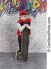 男の子, スケーター, スケートボード, 彼の