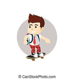 男の子, スケートボード, 乗馬