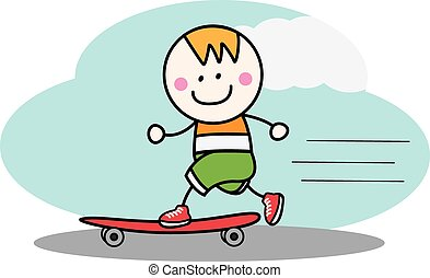 男の子, スケート 板