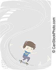 男の子, スケート, 背景, イラスト, 子供