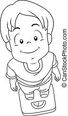 男の子, スケール, 重くのしかかる, 着色, ページ, 子供