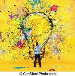 男の子, スタイル, 概念, 引く, 大きい, creativity., 黄色, ブラシ, 革新, bulb., ライト