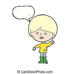 男の子, スピーチ泡, 漫画, 不幸