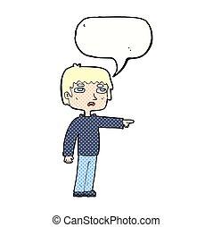 男の子, スピーチ泡, 漫画, 指すこと
