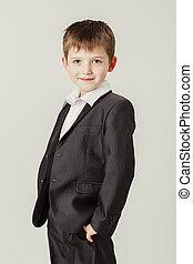 男の子, スーツ, 微笑