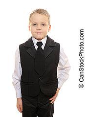 男の子, スーツ, 黒