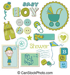 男の子, セット, -, シャワー, 要素, デザイン, 赤ん坊, スクラップブック