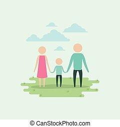 男の子, セット, シルエット, 背景, pictogram, 色, 恋人, 空, 手を持つ, 草, 風景