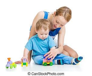 男の子, セット, 一緒に, 建設, 母, 赤ん坊, おもちゃ, 遊び