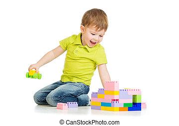 男の子, セット, 上に, 遊び, 建設, 子供,  backgro, 白, 幸せ