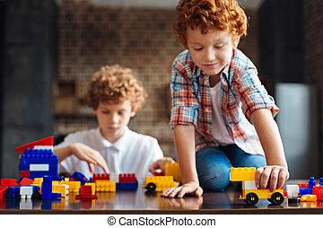 男の子, セット, 建設, redhead, 愛らしい, 遊び
