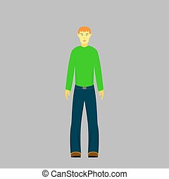 男の子, セーター, 緑