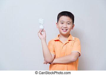 男の子, セービング, エネルギー, ランプ, アジア人, 保有物
