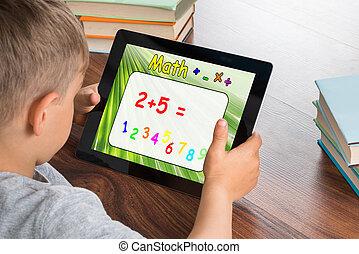 男の子, タブレット, 解決, デジタル, 問題, 数学