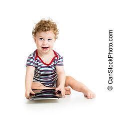 男の子, タブレット, 隔離された, デジタル, 赤ん坊, 白, 遊び