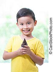 男の子, チョコレート, アイスクリームを食べること