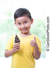 男の子, チョコレート, 食べること, ice-cream.