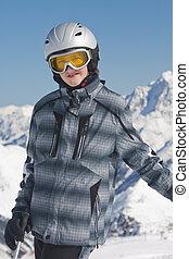 男の子, ティーンエージャーの, スキーヤー