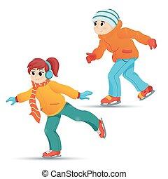 男の子, ティーンエージャーの, 冬の氷, スケート, 女の子, スポーツ