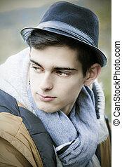 男の子, ティーンエージャーの, 帽子, 肖像画