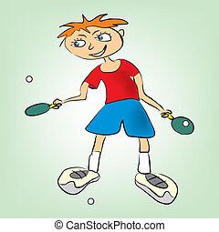 男の子, テニス, プレーする, テーブル