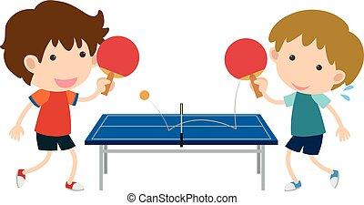 男の子, テニス, 遊び, 2, テーブル