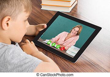 男の子, テレビ会議, タブレット, デジタル