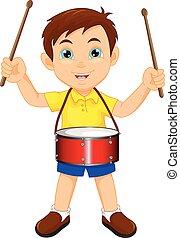 男の子, ドラム, 行進