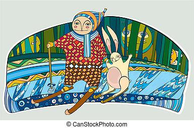 男の子, ノウサギ, スキーをする, 森林, 冬