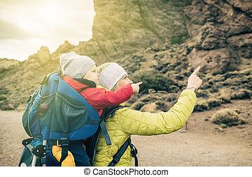 男の子, ハイキング, バックパック, お母さん, 赤ん坊, 極度