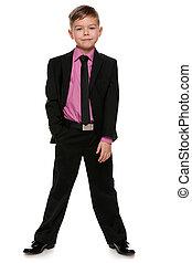 男の子, ハンサム, 黒いスーツ