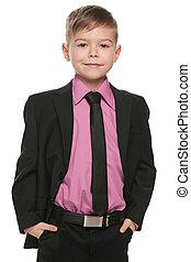 男の子, ハンサム, 黒, 若い, スーツ