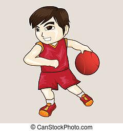 男の子, バスケットボール, 遊び, ベクトル