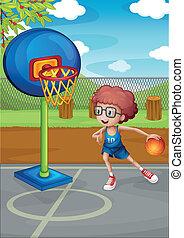 男の子, バスケットボール, 遊び