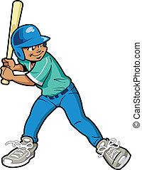 男の子, バッター, 野球