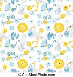 男の子, パターン, seamless, シャワー, ベクトル, 赤ん坊
