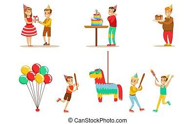 男の子, パーティー, ケーキ, 祝う, セット, ベクトル, birthday, 楽しみ, 壊れた, 子供, 子供, 持つこと, 贈り物, pinata, イラスト, 行く