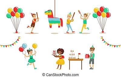 男の子, パーティー, 祝う, セット, ベクトル, birthday, 楽しみ, 壊れた, 子供, 男の子, 持つこと, nd, pinata, イラスト, 行く, 女の子