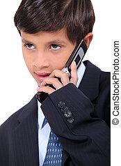 男の子, ビジネス, モビール, 服を着せられる, 若い, 電話, スーツ