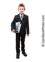 男の子, ビジネス, 子供, 本, 保有物, スーツ, 微笑