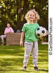 男の子, フットボールボール