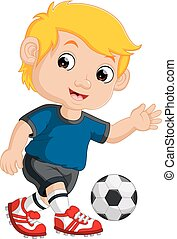 男の子, フットボール, 漫画, 遊び