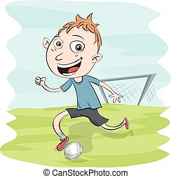 男の子, フットボール, 遊び