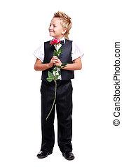 男の子, フルである, 弓, 長さ, スーツ, 肖像画, タイ