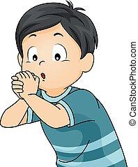 男の子, フルート, 子供, 手