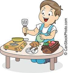 男の子, プレーしなさい, おもちゃ, 料理, 子供
