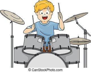 男の子, プレーしなさい, ドラム, イラスト, 子供