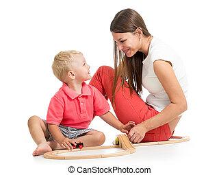 男の子, プレーしなさい, 彼の, おもちゃ, お母さん, ブロック, 子供
