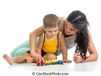 男の子, プレーしなさい, 彼の, おもちゃ, お母さん, 子供