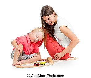 男の子, プレーしなさい, 彼の, おもちゃ, 母, ブロック, 子供